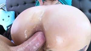 Ramming hard together with big tits redhead
