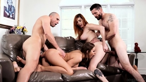 Horny and big tits mature rough orgy