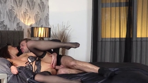 Ryan Ryder in lingerie double fucking