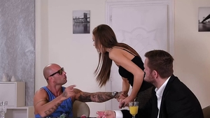 Mike Angelo together with Tina Kay groped