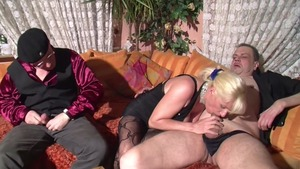 Nailing in company with horny german blonde