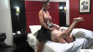 Big tits & very hot stepmom submissive strapon