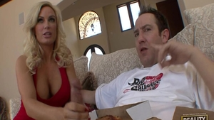 Blowjobs accompanied by shaved blonde Samantha Saint