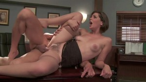 Rough pussy fucking escorted by brunette
