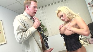 Lustful stepmom erotic sucking cock in office