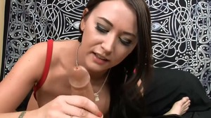 Big tits asian babe Alexis Grace helps with cumshot HD