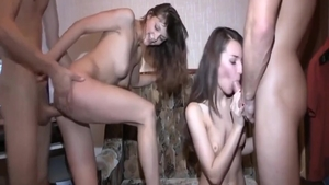 Skinny russian brunette has a taste for foursome