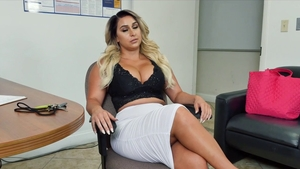 Big butt busty cougar POV titty fucking in office