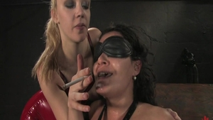 Lesbian Charley Chase together with Annette Schwarz smoking