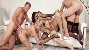 Classy Katy Rose & young George Uhl blowjobs at the party