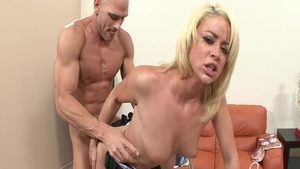 Hard ramming in company with big tits babe Johnny Sins