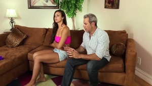 Bald and perky brunette reality reverse cowgirl