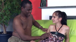 Anal interracial together with big butt ebony brunette