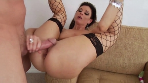 Anal gaping between stepmom in fishnets