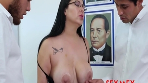 Shaved erotic mexican MILF creampied