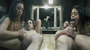 Hardcore sex in company with sexy babe Charles Dera