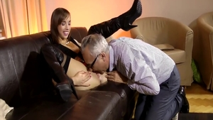 Tina Hot in boots raunchy interracial pounding on the couch