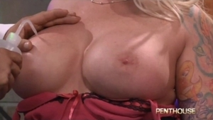 Muscled blonde Angel Vain rough blowjob HD
