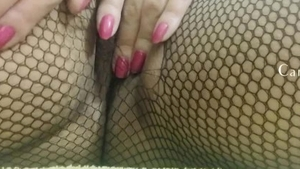 Solo wet pussy in fishnets amateur teasing