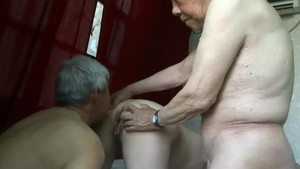 Homemade group sex together with saggy tits asian granny
