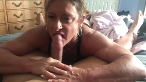 Muscle babe licks uncut dick and swallow