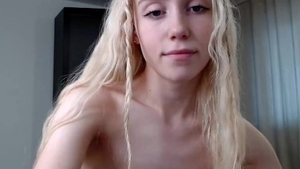 Solo very small tits blonde babe finds dick to fuck