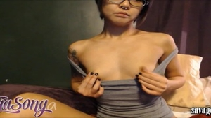 Squirting escorted by petite babe in glasses