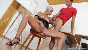 Large boobs teacher Kathy White feels up to plowing hard