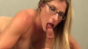 Deepthroat in company with busty babe
