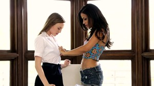 Aubrey Star with Layla Sin got her pussy smashed in office