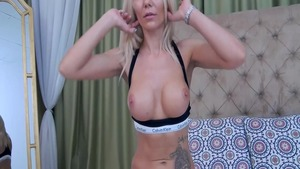 Masturbation on webcam together with babe